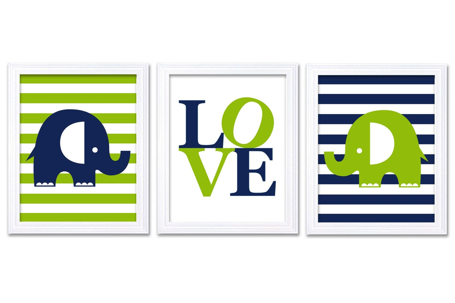 Elephant Nursery Art LOVE Set of 3 Prints Navy Blue Lime Green Stripes Child Art Kids Room Wall Art
