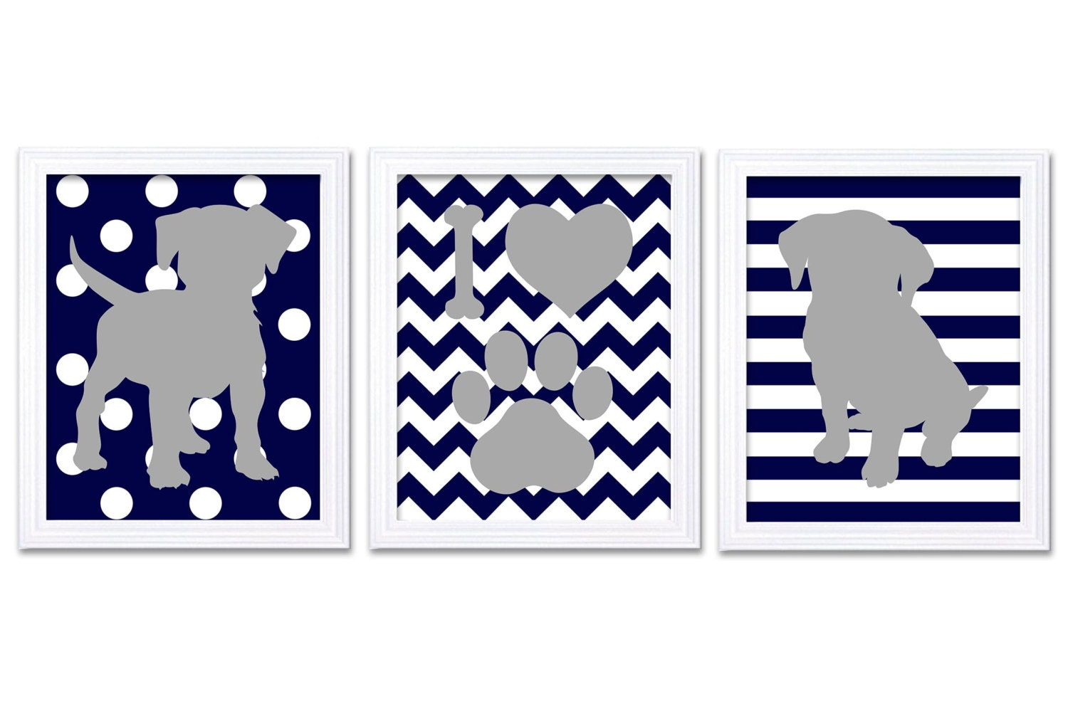 Puppy Dog Nursery Art Puppy Prints Set of 3 Prints Navy Blue Grey Stripes Polka Dots Chevron Baby Wa