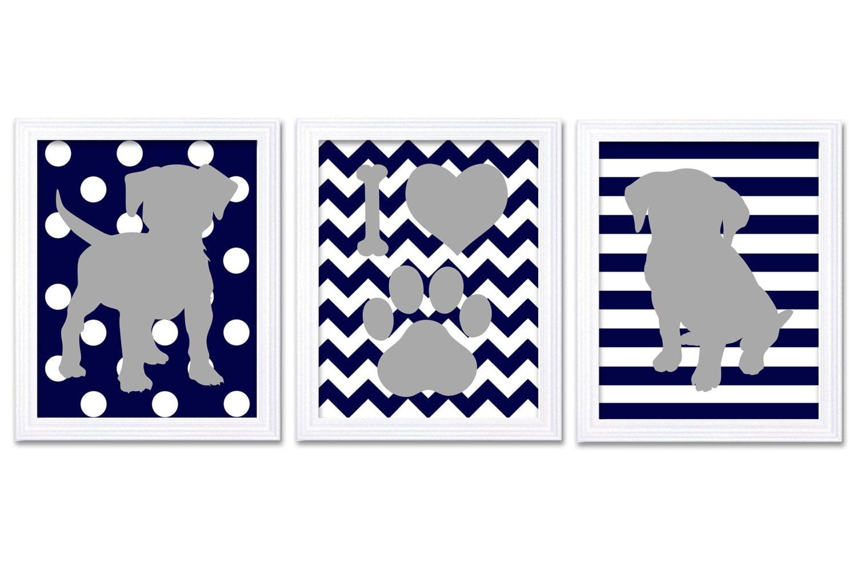 Puppy Dog Nursery Art Puppy Prints Set of 3 Prints Navy Blue Grey Stripes Polka Dots Chevron Baby Wa