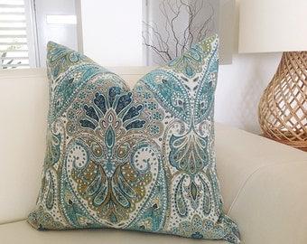 Teal Cushions, Damask Traditional Cheval Designer Cushions, Pillows, Decorative Pillows Coastal