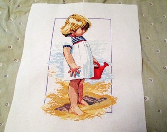 Cross-Stitch Child on a Beach