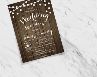 Woodgrain Texture + String Lights Customizable Wedding Reception Invites