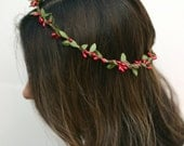 THE ADAIRE - Red Christmas Green Crown Floral Hair Wreath Woodland Rustic Circlet Bride Wedding Romantic Elegant Flower Girl Holiday