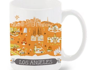 Los Angeles Mug-City Mug-Coffee-Tea-Kitchen-LA Mug-Orange-Gold-Kitchen-Foodie-Cooking-Baking-Personalized-Custom