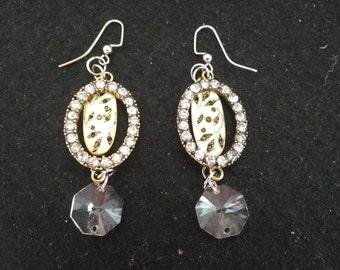Rhinestone and Brass Drop Earrings