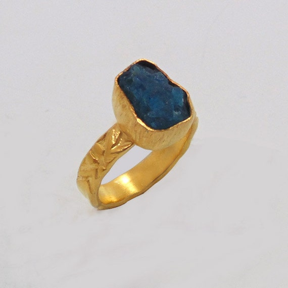 apatite ring gemstone ring handmade ring gold plated by vedka