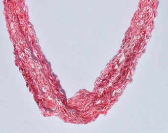 Ladder Yarn Necklace, Ribbon Necklace, Crochet Necklace, Adjustable Length, Pink, Trellis Necklace, Womans Necklace, Gift for Her, #29