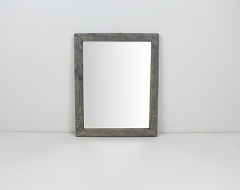 Solid Wood Gray Rustic Modern Wall Mirror/ Bathroom Mirror/ Vanity Mirror/ Entryway Mirror