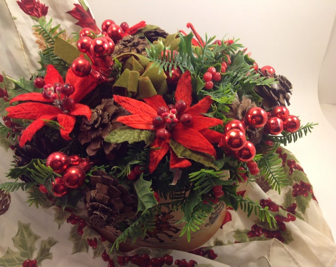 Featured listing image: vintage Christmas holiday flower arrangement centerpiece in round faux tooled leather planter with embossed winter scenes
