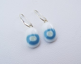 White and Blue fused glass earrings