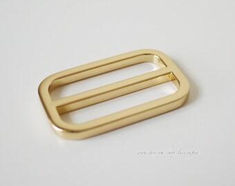 10pcs 1 1.25 1.5 inch Golden leather strap adjuster Slide Buckle Tri-Glide bar slider adjustable buckle rectangle sliders belt adjuster