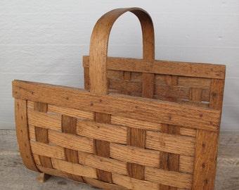 Vintage Split Oak Magazine Rack Basket  and Wood carrier