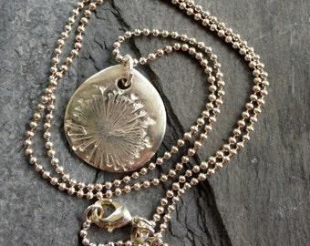 Dandelion Fine Silver Pendant PMC