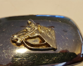 SALE Vintage Western chrome belt buckle, equestrian Made in USA, 1960's