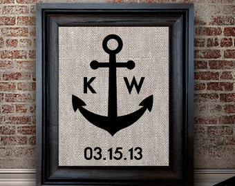 Unique Anchor Print | Cotton Wedding Anniversary Gift | Engagement, Shower, Bridal Gifts | Cotton Fabric Print