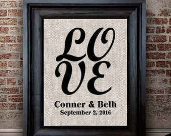 Cotton Anniversary Gift | Modern LOVE Print | Gift for Couples | Engagement Gift | 2 Years Together | Gift for Wife | Anniversary Keepsake