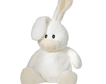 """Embroidered Cubbies animal.  """" White Bunny."""