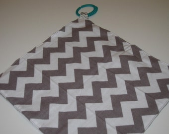 Lovely lovey in grey chevron and minky dots