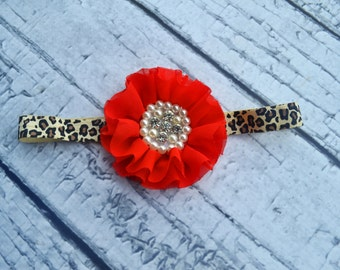 Red Leopard Baby Girl Headband