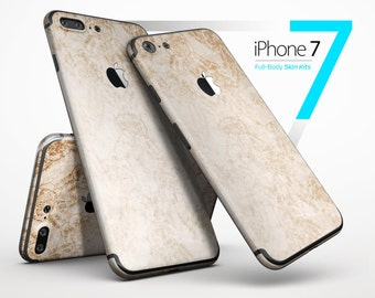 Faded Tan and Brown Ribbon Damask Pattern - Skin Kit for the iPhone 7 or 7 Plus, 6 or 6s Plus, 5/5s/SE, 5c & More