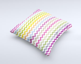 Colorful Chevron Pattern ink-Fuzed Decorative Throw Pillow