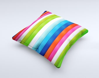 Neon ColorBar Planks ink-Fuzed Decorative Throw Pillow