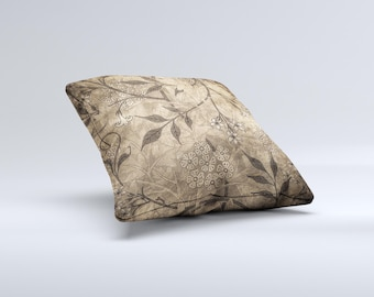 The Brown Aged Floral Pattern ink-Fuzed Decorative Throw Pillow