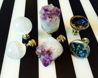 Stylish Pairs of Lamp Finials in Choice of Amethyst Crystal Core, Selenite Orbs, or Bismuth Crystals.