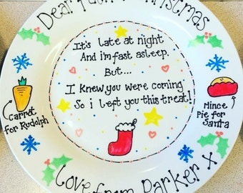 Personalised Christmas Eve Santa Treat Plate - Father Christmas Poem. Carrot Mince Pie Stocking Reindeers  sc 1 st  Etsy & Carrot plate | Etsy