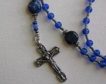 Handmade rosary, Sapphire blue glass beads, imperial jasper beads, prayer beads, catholic rosary, Miraculous Medal Centerpiece