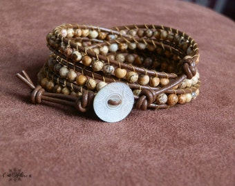 Ethnic Jasper Boho Leather Wrap bracelet