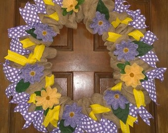 Purple & Gold Floral Burlap Wreath