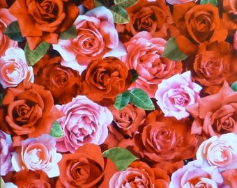 Digital Roses~Red/Pink Roses~Cotton Fabric,~ Floral~Red Rooster~Fast Shipping F644