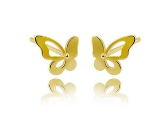 14K Yellow Gold 58.5% Stud Earring Yellow Star  Butterfly  Love Small and lovely cute earring