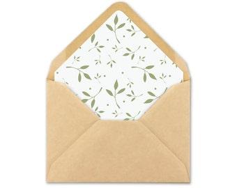 Envelope Liner Printable - Green Leaf Envelope Liner Template - A7 - A2 - square envelope liners - triangle envelope liners