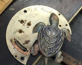 Sea turtle steampunk necklace with shell and pocket watch parts Handcrafted artistic jewelry -The Victorian Magpie