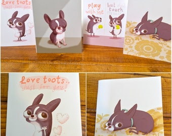 Boston Terrier Note Cards [set of 8] Dog Art Stationary. Blank Inside.