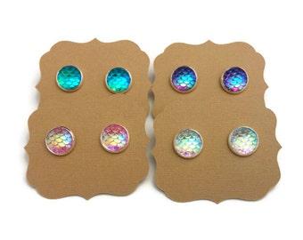25% OFF SALE Mermaid Earrings • Mermaid Gifts • Iridescent Earrings • Dragon Earrings • Mermaid Jewelry • Gifts Under 10 • Girls Gift • Sale