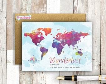 Colourful Wanderlust world map - Watercolour -  5x7 Greeting Card.
