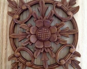 Carved Teak Wood Floral Wall Hangings (Set of 2)