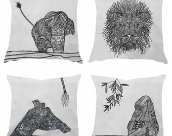 Animal screen printed & stitched cushion , choose from an elephant, giraffe, bee, tiger, gorilla or a lion design