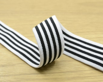 """1""""( 25mm) wide Black Stripes Comfortable Plush White Elastic,Waistband Elastic,Soft Elastic, Elastic Band,Sewing Elastic By the Yard"""