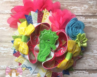 Seahorse Bow~ ott seahorse bow, seahorse hairbow, beach hairbow