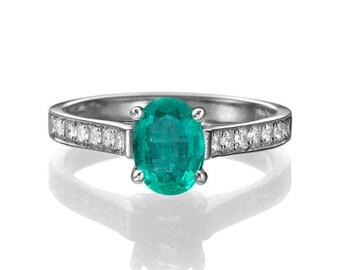 Platinum Engagement Ring Emerald Engagement Ring, Vintage Emerald Ring, Emerald and Diamonds 950Vintage Engagement Ring