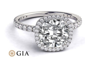 Platinum Diamond Ring Cushion Cut Halo Engagement Ring, GIA Diamond, 1.65 TCW Diamond Ring Setting, Halo Ring, Unique Rings