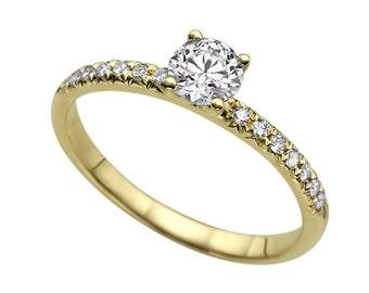 1.14ct White Sapphire and Diamonds Engagement Ring Yellow Gold 14K Classic Round