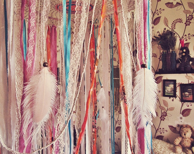 Bohemian Dreamcatcher Bed Canopy - Boho Nursery Decor - Indian Elephant Style - Hanging Crib Crown - Gypsy Bedroom Decor - Tropical Decor