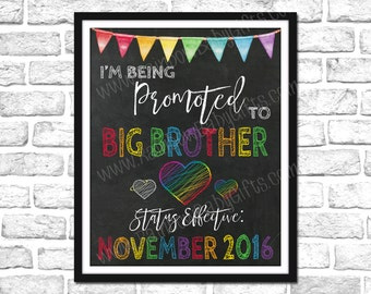 I'm Being Promoted To Big Brother Pregnancy Announcement Sign, Double Rainbow Baby Announcement, Rainbow Pregnancy Reveal Chalkboard Sign