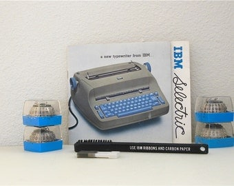 5 IBM Selectric Ball Fonts IBM Selectric I & II Electric Typewriter Brush Manual 8 pc Delegate Pica 10 Script 12 Gothic Scribe Cube font Set