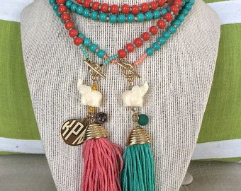 Monogrammed Elephant Charm Necklace - two great colors, perfect for any spring or summer wardrobe!